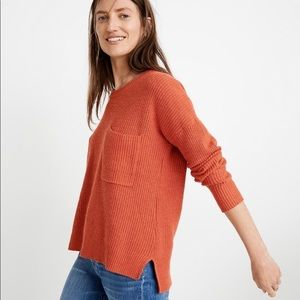 Madewell Red Thompson Pocket Sweater Pullover XL